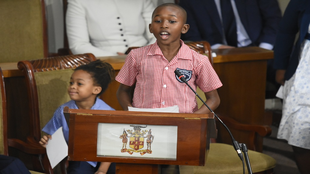 Keino King, 10 pleaded with parliamentarians to do more to protect the nation's children during a special  sitting of the House of Representatives.