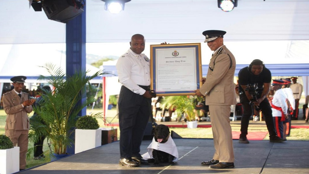 District Constable Okeino Ashley (left on stage) and his partner, service dog 'Tim', being presented with an award by Police Commissioner, Major  General Antony Anderson.