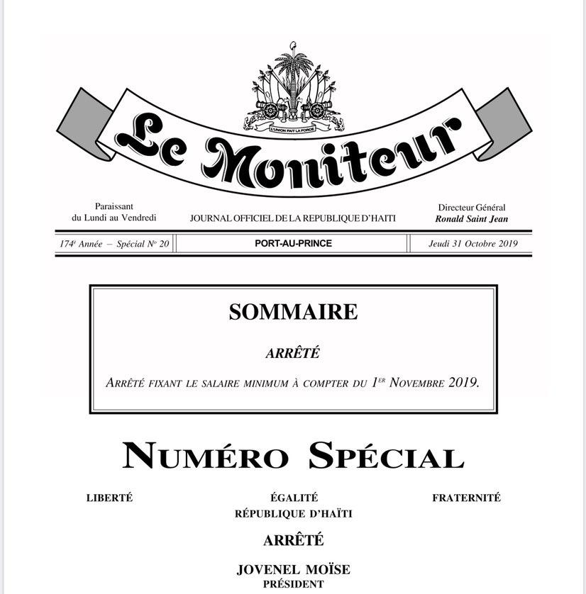 Première page du numéro du journal officiel « Le Moniteur », avec au sommaire, l'arrêté fixant le salaire minimum à compter du 1e novembre 2019.