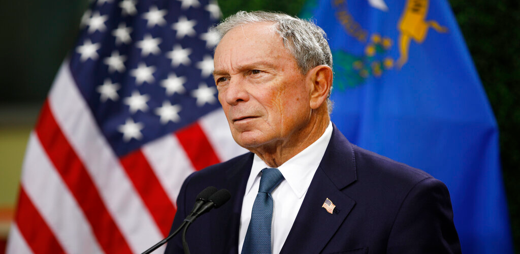 FILE - In this Feb. 26, 2019, file photo, former New York City Mayor Michael Bloomberg speaks at a news conference at a gun control advocacy event in Las Vegas.