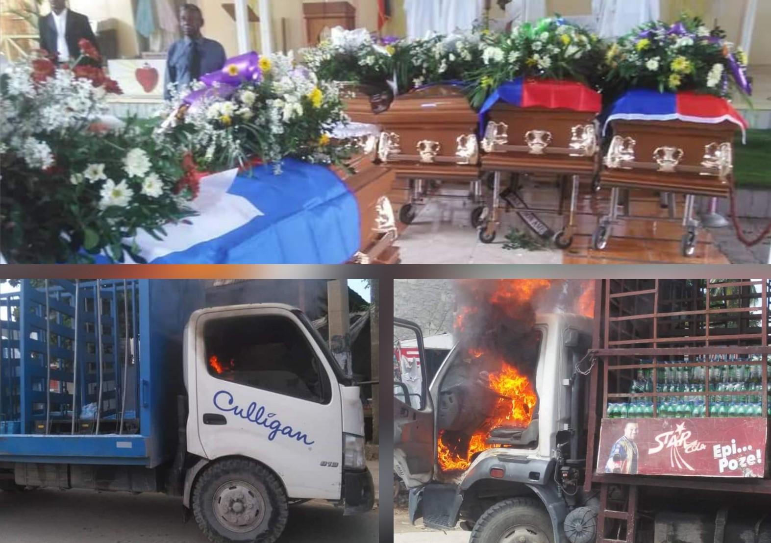 L'exposition des cerceuils, puis les 2 camions incendiés. Collage: Loop Haïti.