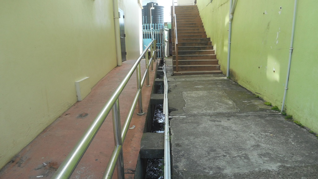 The drain where a dead dog was recently found in Vieux Fort.