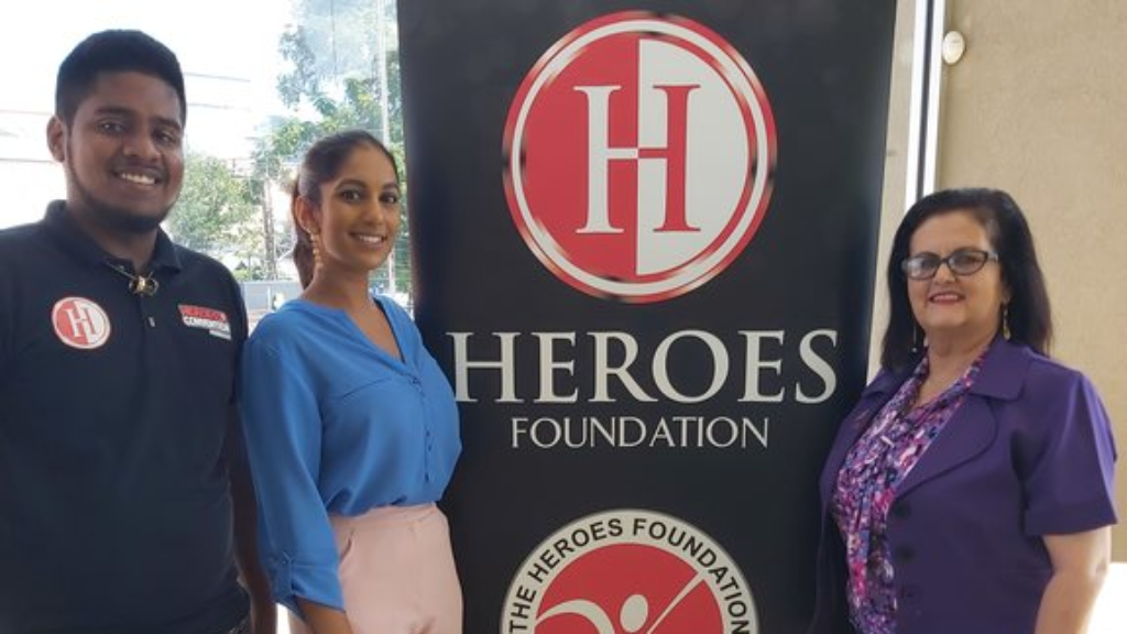 Pictured: (from left to right) – Dominic Datt, a graduate of the Youth Development Programme (YDP) Heroes Club; Amanda Gopaul, Social Media and Events Coordinator of The Heroes Foundation and Najette Abraham, Chief Executive Officer of The Heroes Foundation.