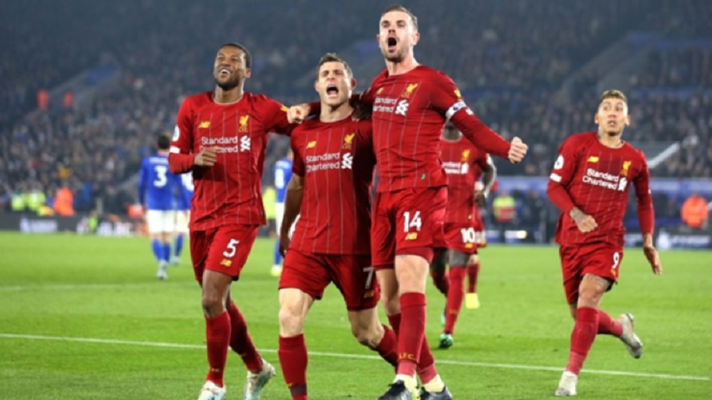Liverpool players celebrate victory over Leicester at the King Power Stadium on Boxing Day, December 26, 2019.