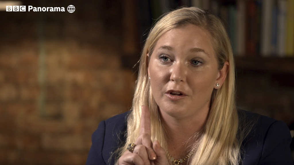 In this image taken from video issued by the BBC, Virginia Roberts Giuffre gestures during an interview on the BBC Panorama program that will be aired on Monday December 2, 2019. (BBC Panorama via AP)