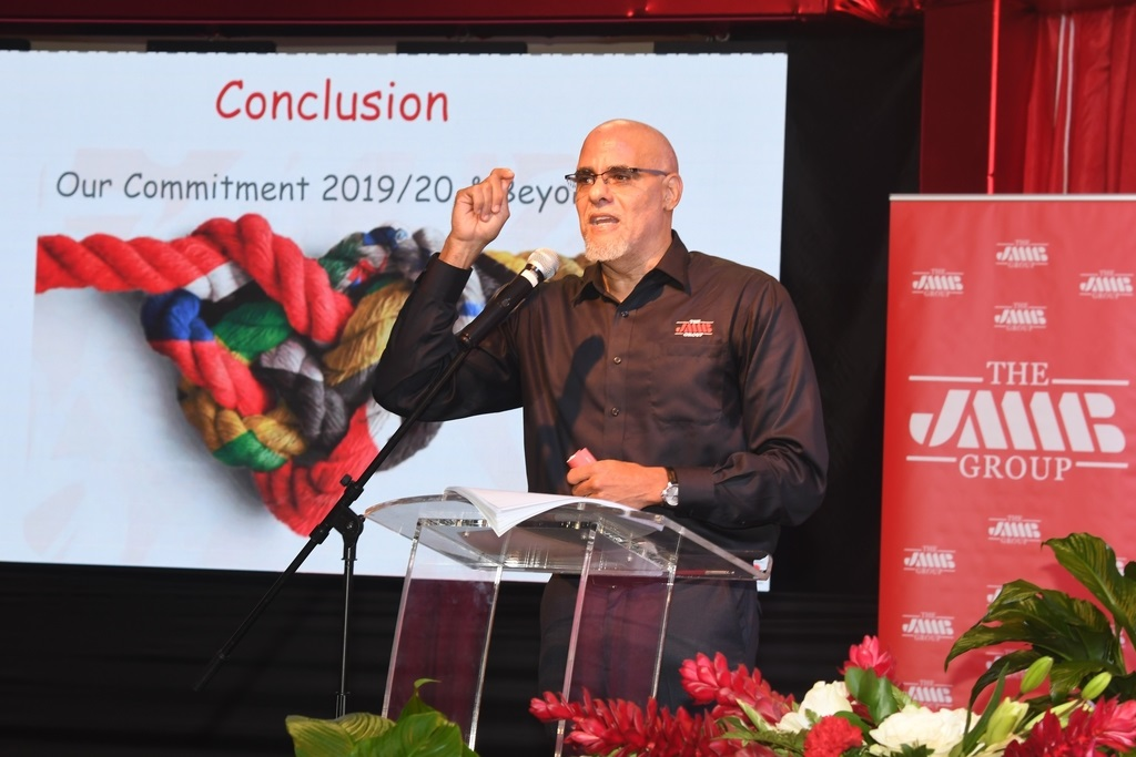 JMMB Group CEO Keith Duncan speaking at the company's AGM on Wednesday. (Photo: Collin Reid)