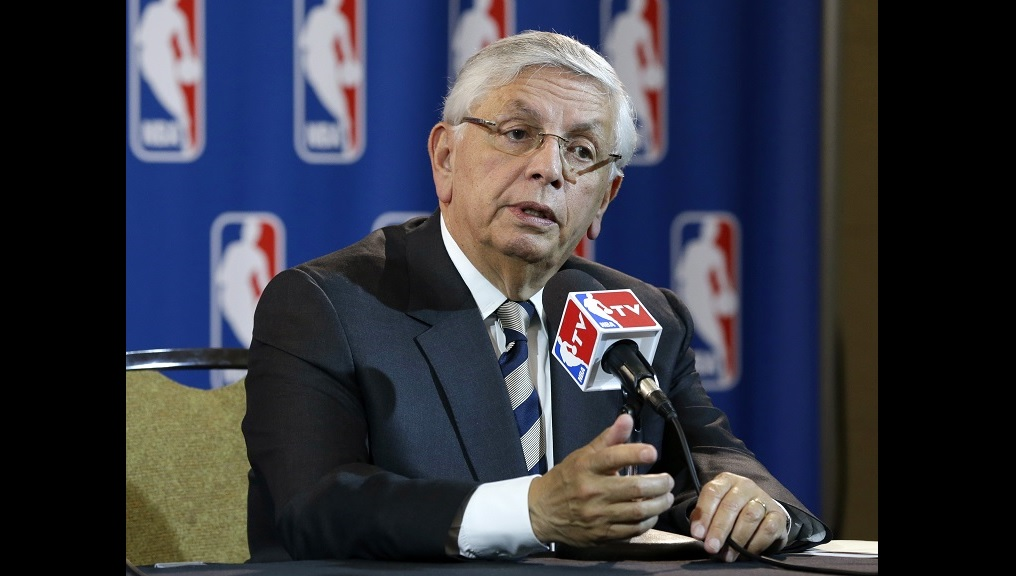 In this Wednesday, May 15, 2013 file photo, NBA Commissioner David Stern takes a question from a reporter during a news conference following an NBA Board of Governors meeting in Dallas. (AP Photo/Tony Gutierrez, File)
