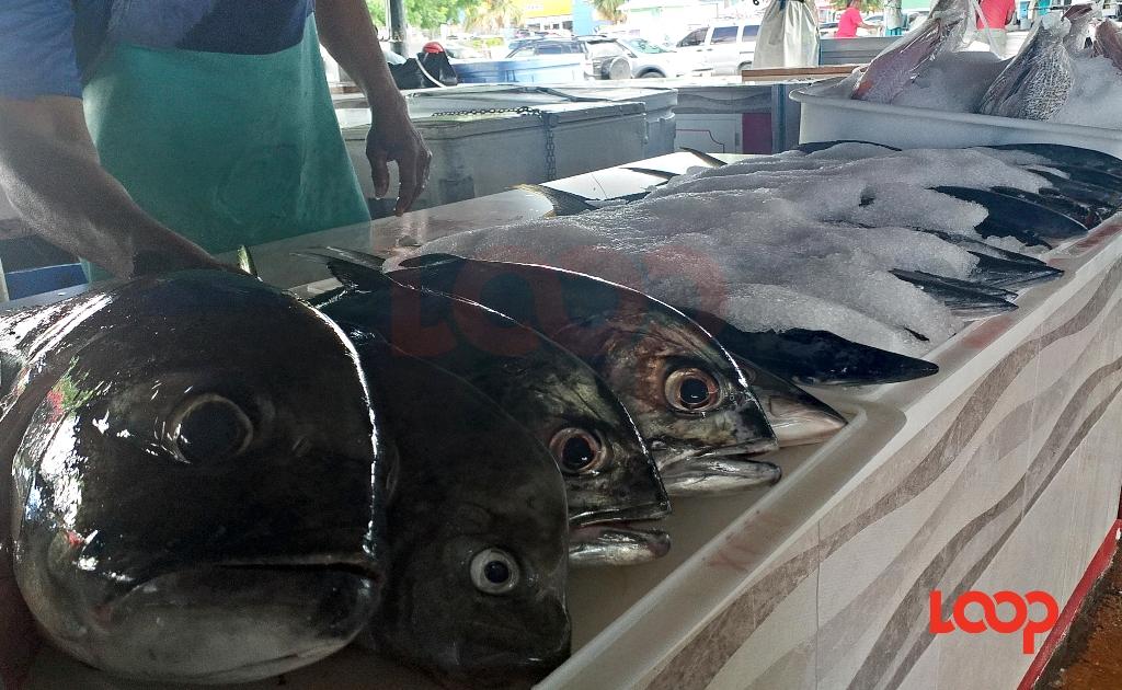 Fish on ice at the Berinda Cox Fish Market in Oistins