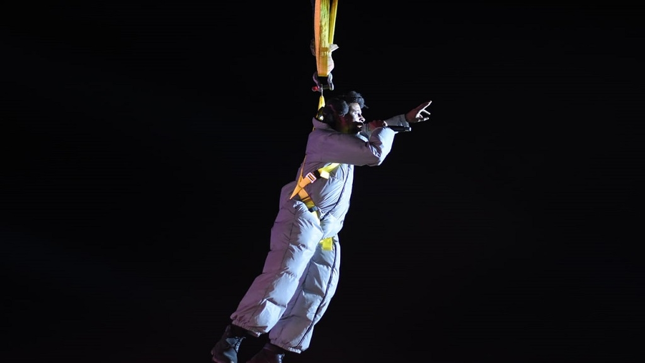 Popcaan being lowered onto the stage at his Unruly Fest over the weekend. (Photos: Marlon Reid)