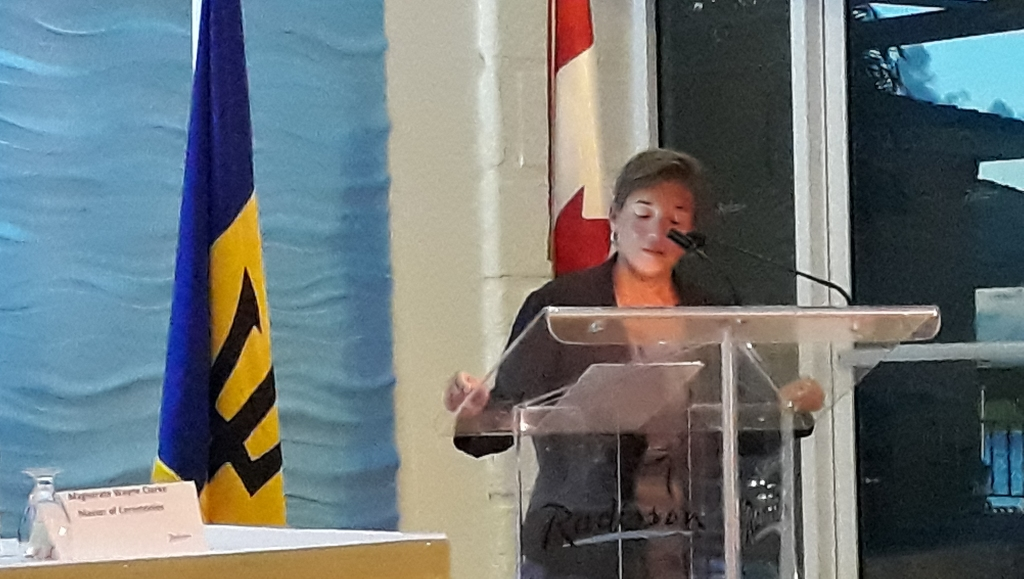 High Commissioner of Canada to Barbados and the Eastern Caribbean, Marie Legault giving remarks at the closing ceremony