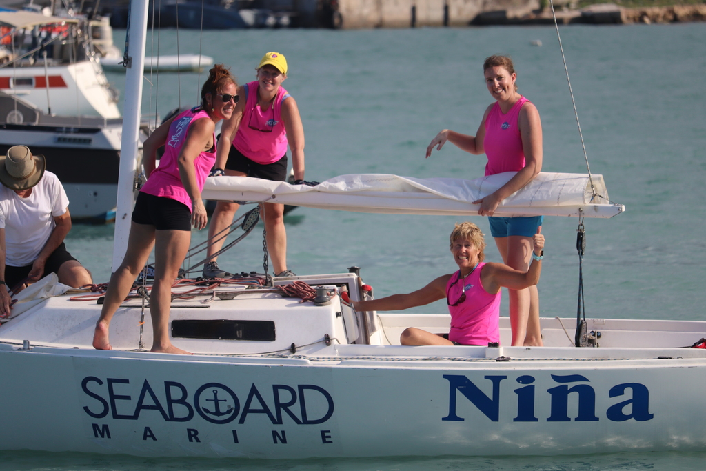 Nina the all female team from Canada prepares to head to the start line on Day 2 of the JAMIN Regatta. The 30th Annual JAMIN Regatta saw 13 teams from North American & the Cayman Islands competing in three days of sport sailing in Montego Bay.