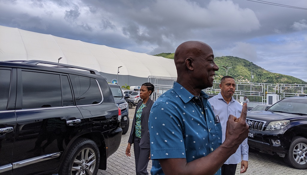 Prime Minister Dr Keith Rowley shows his ink-stained finger after casting his vote during the Local Government Elections on December 2, 2019, at the International School, Port of Spain. Photo courtesy Alina Doodnath.