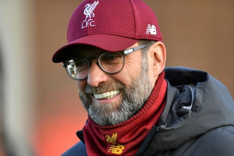 Le technicien allemand de Liverpool, Jürgen Klopp, lors d'une séance d'entraînement, le 9 décembre 2019 à Liverpool