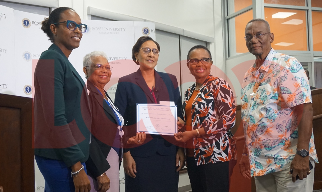 Members of the Myeloma, Lymhoma and Leukemia Foundation of Barbados: (center) Associate Dean of Medical Sciences at Ross University, Dr. Rhonda McIntyre; (left) VP Hyacinth Grimes and (right) President Myrna Edwards.