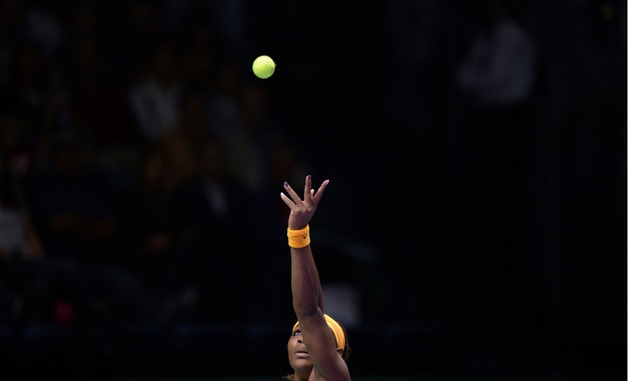 This Oct. 22, 2013, file photo shows Serena Williams of the US keeping her eyes the ball. Williams has been voted the AP Female Athlete of the Decade for 2010 to 2019. Williams won 12 of her professional-era record 23 Grand Slam singles titles over the past 10 years. No other woman won more than three in that span. (AP Photo/File)