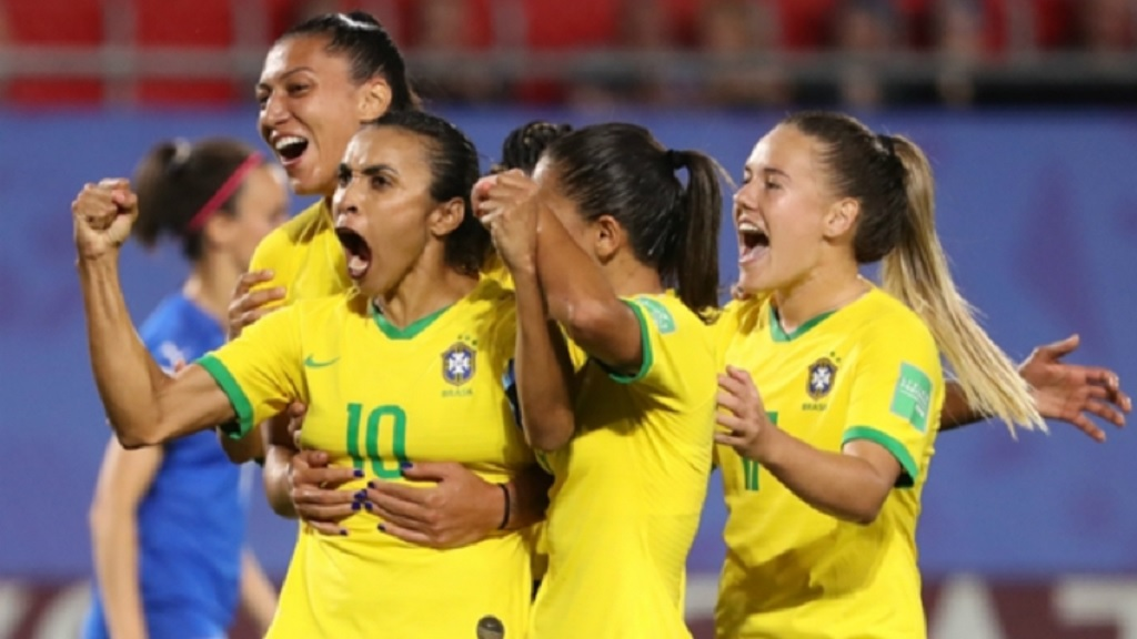 Brazil celebrate a goal by Marta at the 2019 Women's World Cup.