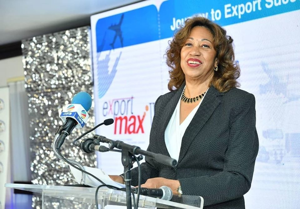 President of Jampro, Diane Edwards during the Export Max III MOU signing at the Jamaica Pegasus on Tuesday.