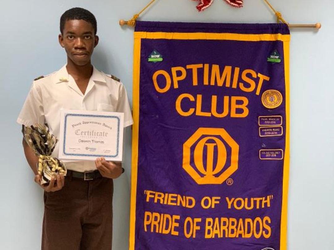 Daleron Thomas, poses with his Supreme Innovation and Creativity Award (BGIS)