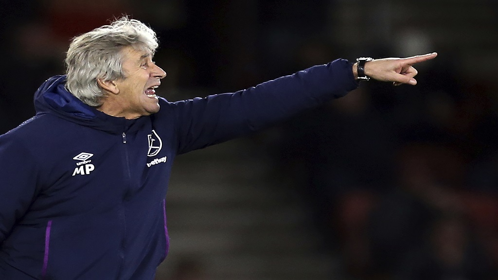 West Ham United manager Manuel Pellegrini gestures on the touchline.(Steven Paston/PA via AP).