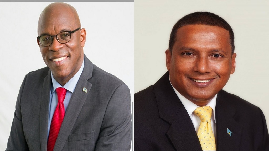 Former Housing Minister Stanley Felix (left), Minister Guy Joseph (right)