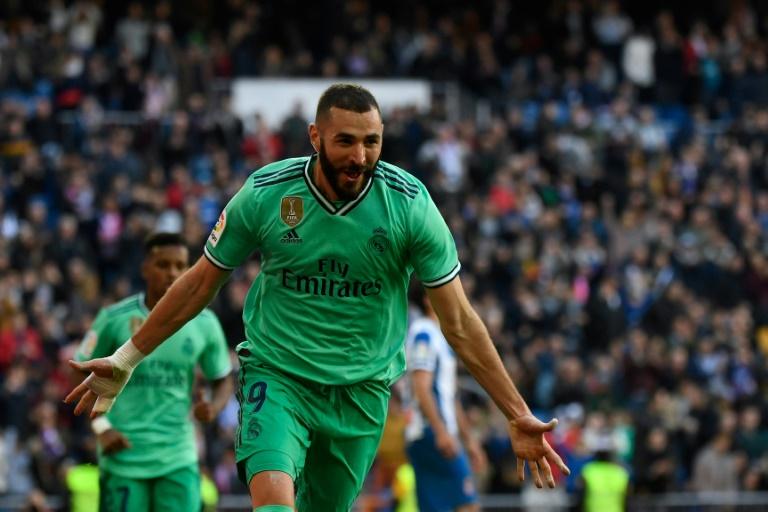 L'attaquant français du Real Madrid, Karim Benzema, buteur face l'Espanyol Barcelone, en Liga, à Santiago-Bernabeu, le 7 décembre 2019