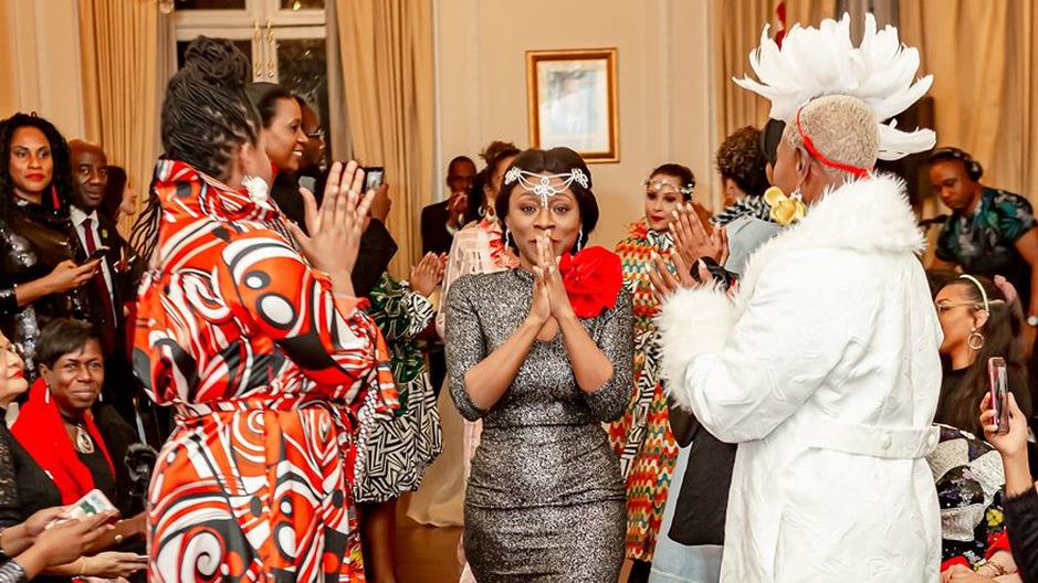 Stacey Weekes Benjamin at the launch of the Red, White and Bling Diane Carlton collection at the T&T High Commission in London