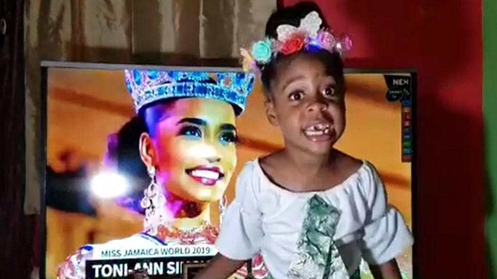 Screengrab of Ngozi Wright, 7, in a tribute video to newly-crowned Miss World, Toni-Ann Singh of Jamaica.