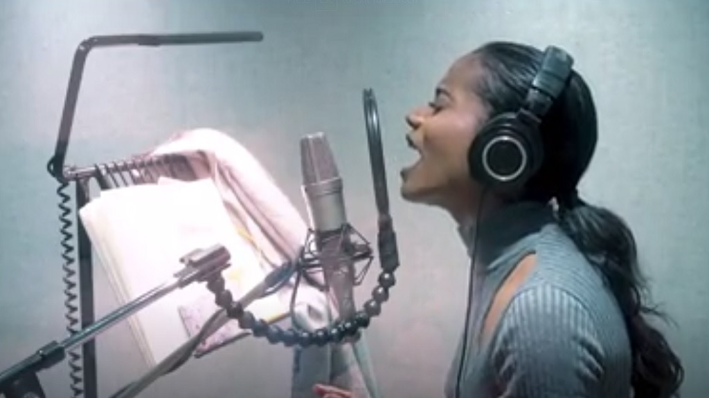 A screen grab from a video of the recording of Whitney Houston monstor hit song, 'I Have Nothing', by Miss World 2019, Jamaica's Toni-Ann Singh, in London last week.