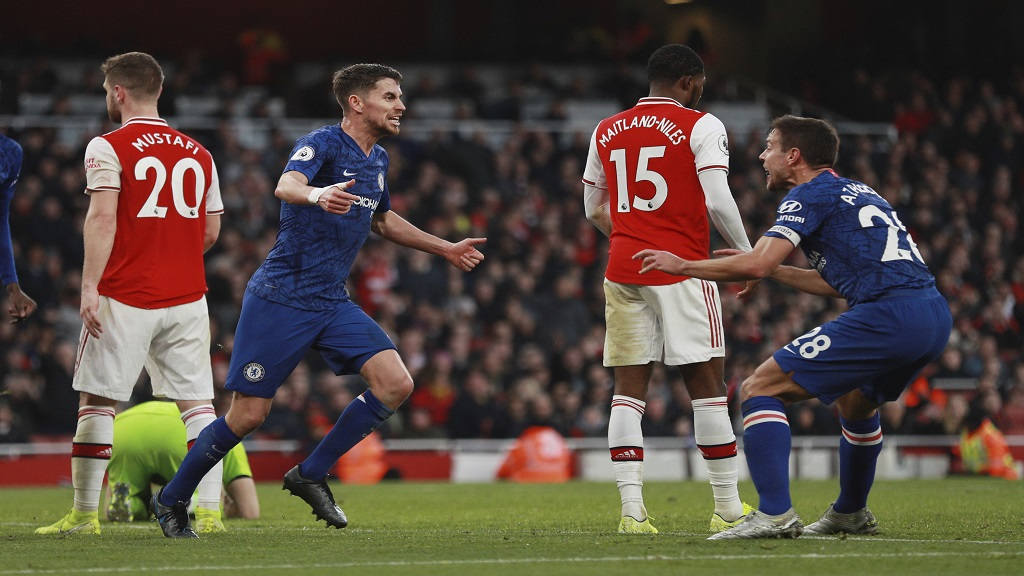 Chelsea's Jorginho, left, celebrates with his teammate Cesar Azpilicueta after scoring his side's first goal during the English Premier League football match against Arsenal at the Emirates Stadium in London, Sunday, Dec. 29, 2019. (AP Photo/Ian Walton).