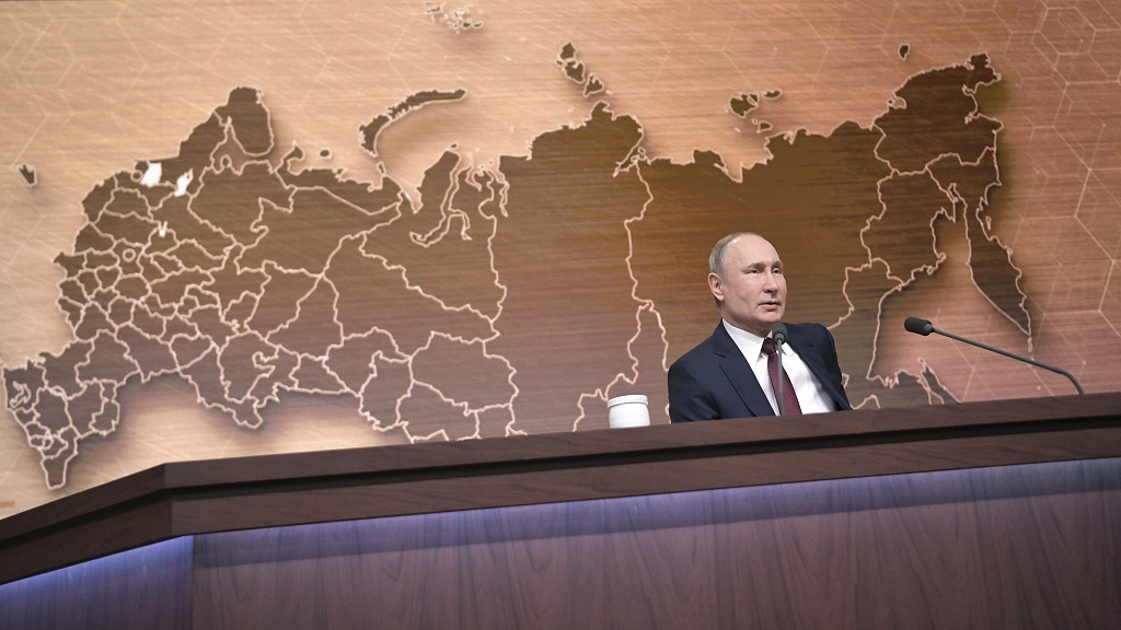 Russian President Vladimir Putin speaks during his annual news conference in Moscow, Russia, Thursday, Dec. 19, 2019.