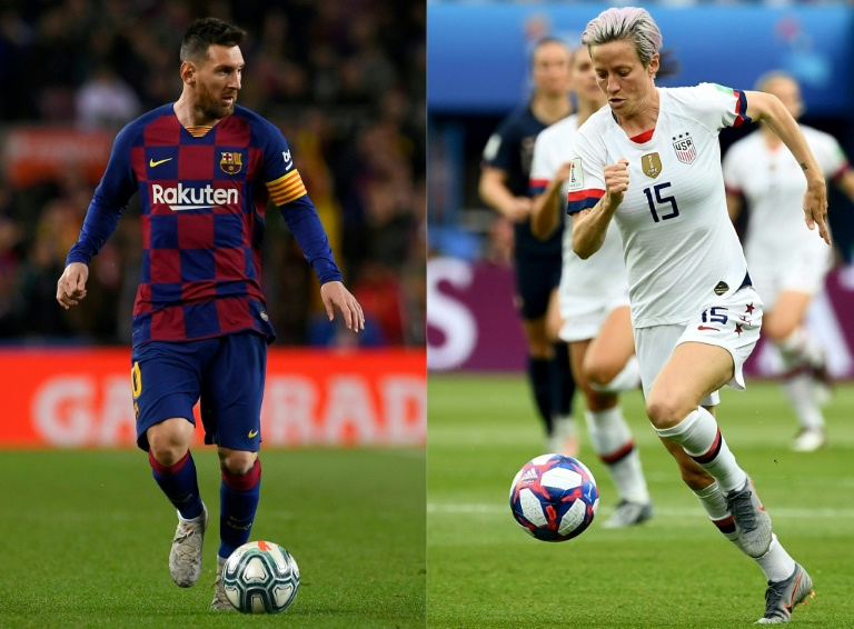 Photomontage de Lionel Messi et Megan Rapinoe