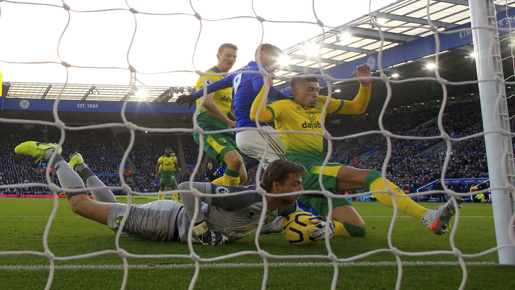 Norwich City goalkeeper Tim Krul makes a save during their English Premier League match against Leicester City at King Power Stadium in Leicester, England, Saturday Dec. 14, 2019. (Nick Potts/PA via AP).