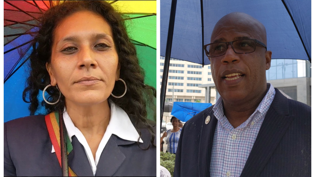 Pro-Cannabis activist, Nazma Muller (left) & Anti-Cannabis activist, Victor Gill (right)