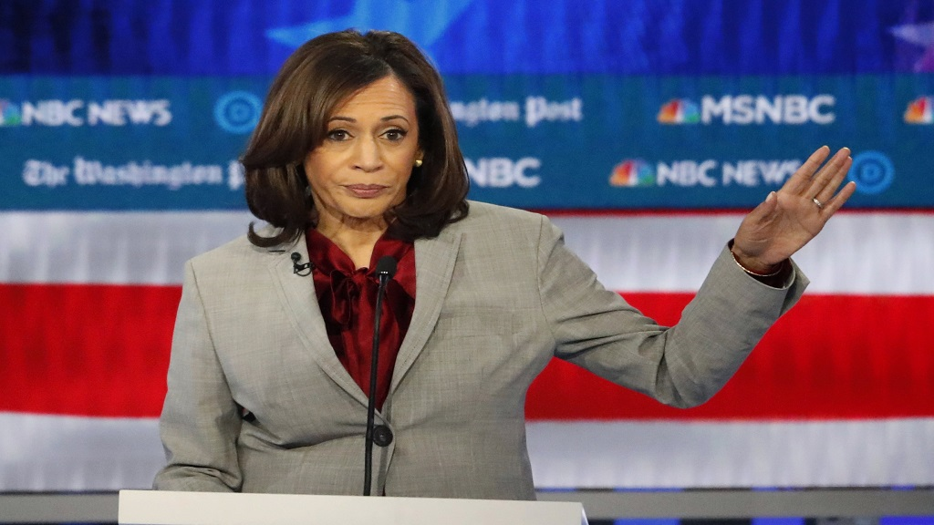 In this November 20, 2019 file photo, Democratic presidential candidate Senator Kamala Harris, D-California, speaks during a Democratic presidential primary debate in Atlanta. (AP Photo/John Bazemore)