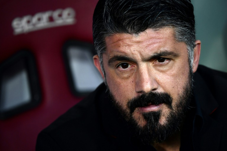 Gennaro Gattuso, alors entraîneur de l'AC Milan, lors d'un match contre le Torino, le 28 avril 2019 à Turin