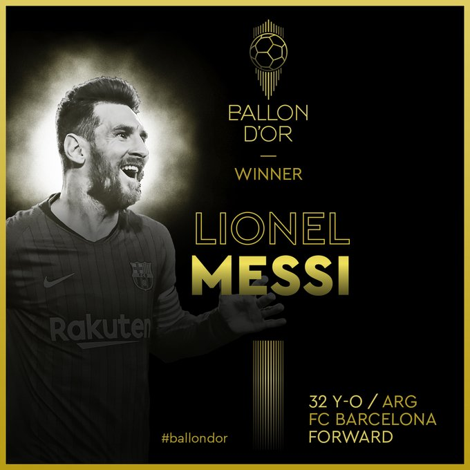 Lionel Messi remporte son 6e ballon d'or