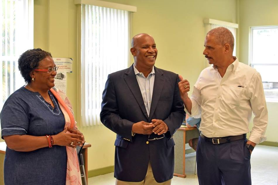Primeand  Minister Mia Mottley, Attorney General Dale Marshall  the former Attorney General of the United States of America, Eric Himpton Holder (Source: BGIS)