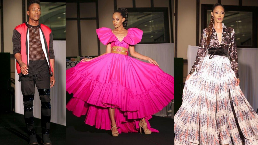 (L-R) Looks from Harvey Robertson, Zadd & Eastman and CLD grace the runway at Port of Spain Fashion Week High Fashion Brunch. (Images: Jude Roberts)