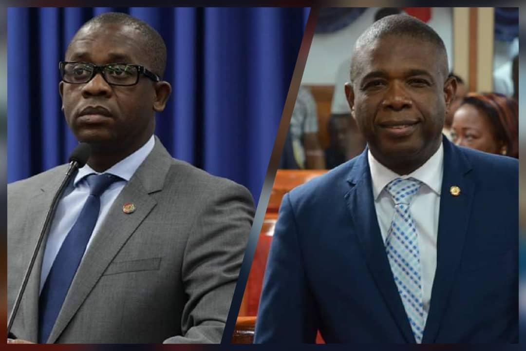 A droite, le président du Sénat, Carl Murat Cantave/ A gauche, le député Alfredo Antoine...