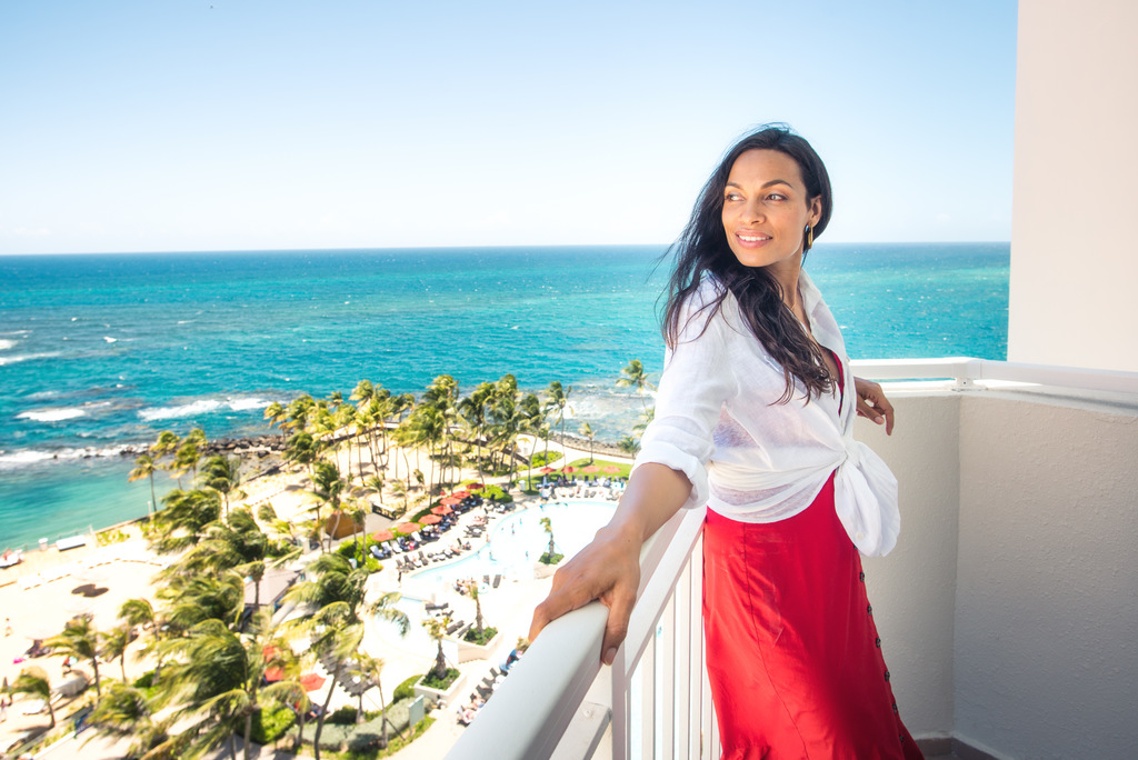 Rosario Dawson at Caribe Hilton. (Photo: Business Wire)