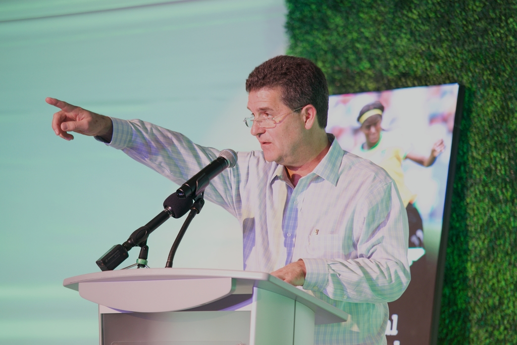 Chairman of Wisynco Group Limited, William Mahfood points to the audience in acknowledgement of a question asked at the 2019 Annual General Meeting on Wednesday.