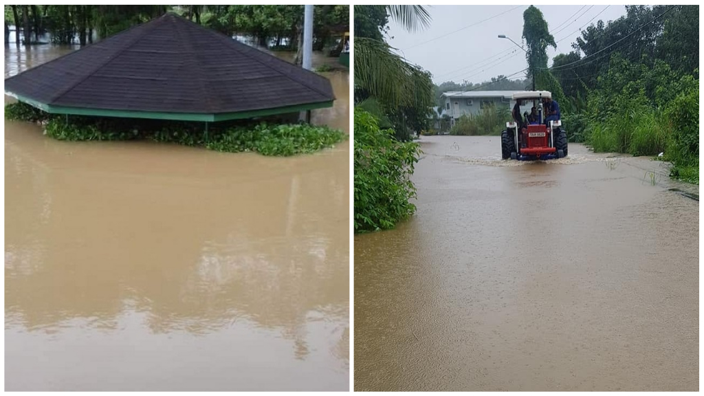 Photo L-R: Flooding in Tulsa Trace, Penal reached up to seven feet after flooding on Decemer 11, 2019. Councillor for Debe/Penal Shanty Boodram shared photos of flooding in parts of her constituency.