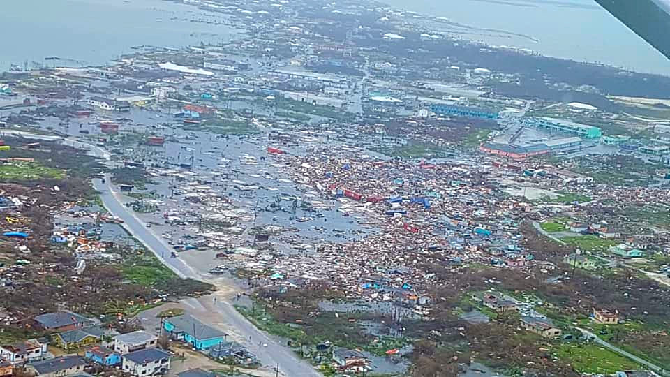 (File Photo) Aerial view of the destruction caused by Dorian to the island of Bahamas.