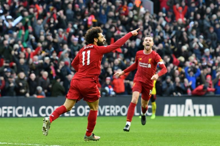 Le milieu de terrain égyptien de Liverpool Mohamed Salah a marqué un doublé contre Watford en Premier League à Anfield le 14 décembre 2019.