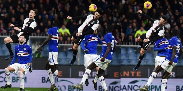 L'attaquant de la Juventus Cristiano Ronaldo saute au-dessus du défenseur de la Sampdoria Nicola Murru, le 18 décembre à Gênes. AFP / Marco BERTORELLO