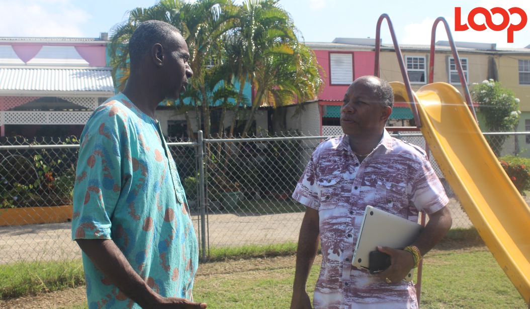 President of the Haynesville Youth Club, Peter Skeete (left)  and David Denny, General Secretary of the Caribbean Movement for Peace and Integration in discussion.