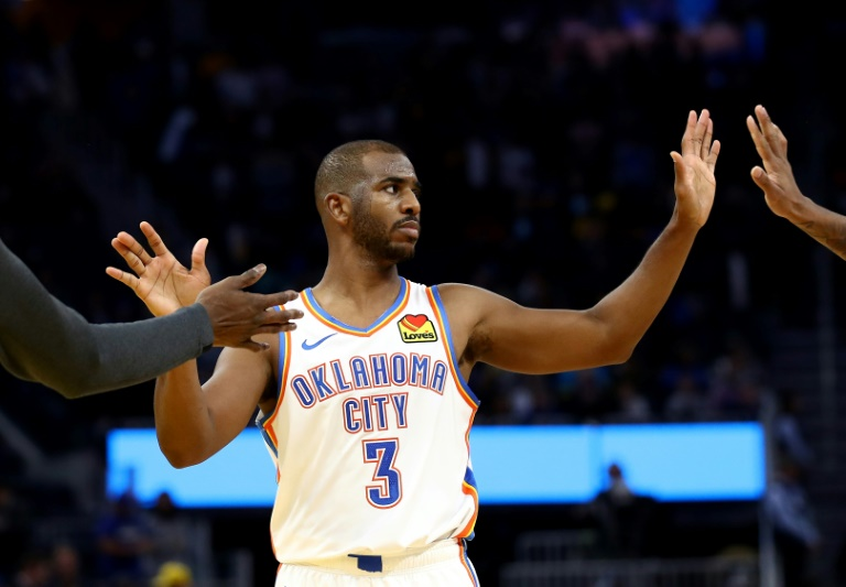 Oklahoma City's Chris Paul scored 20 of his 25 points in the second half as the Thunder won their fifth straight game in Toronto