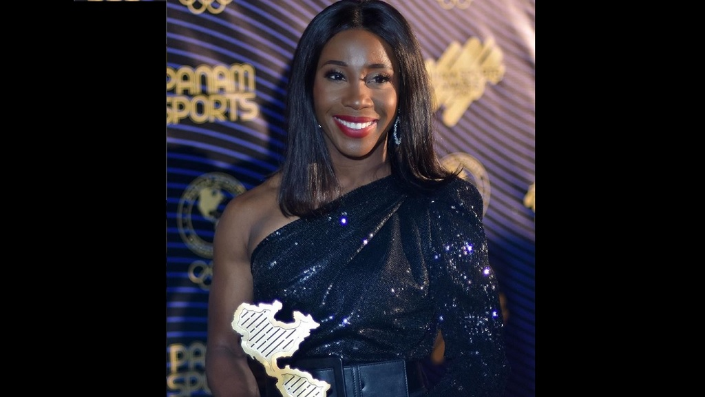 Jamaican sprint star Shelly-Ann Fraser-Pryce with the Best Female Athlete award at the  inaugural Panam Sports Awards in Fort Lauderdale, United States on Friday, December 13, 2019.