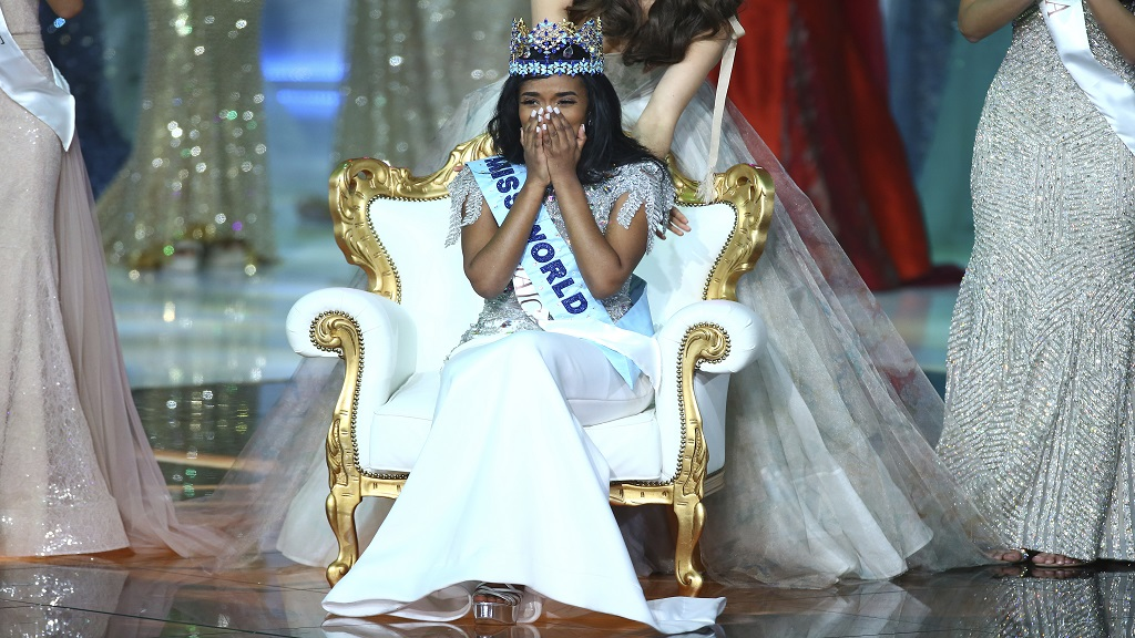 Winner of Miss World 2019, Toni-Ann Singh of Jamaica, reacts after winning the award, at the 69th annual Miss World competition at the Excel centre in London Saturday, Dec 14, 2019. (Photo: AP)