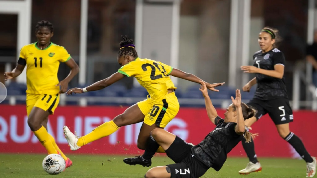 Jamaica's Cheyna Matthews  takes a shot during their Group B match of the Concacaf Women's Olympic Qualifying Championship against Mexico on Wednesdaym January 29, 2020, at H-E-B Park in Edinburg, Texas. (PHOTO: Concacaf.com).